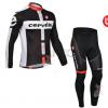 ชุดปั่นจักรยานแขนยาวทีม Cervelo Castelli เสื้อปั่นจักรยานแขนยาว กับ กางเกงปั่นจักรยานขายาว สีดำขาวแดง 158