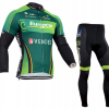 ชุดปั่นจักรยานแขนยาวทีม Europcar เสื้อปั่นจักรยานแขนยาว กับ กางเกงปั่นจักรยานขายาว สีเขียว 105