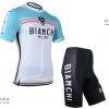 ชุดปั่นจักรยานแขนสั้นทีม BIANCHI เสื้อปั่นจักรยาน กับ กางเกงปั่นจักรยาน สีขาวฟ้าอ่อน 045