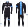 ชุดปั่นจักรยานแขนยาวทีม SKY เสื้อปั่นจักรยานแขนยาว กับ กางเกงปั่นจักรยานขายาว สีดำคาดฟ้า 029