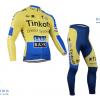 ชุดปั่นจักรยานแขนยาวทีม Saxo Bank Tink Off เสื้อปั่นจักรยานแขนยาว กับ กางเกงปั่นจักรยานขายาว สีเหลือง 072