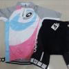 ชุดปั่นจักรยานผู้หญิงแขนสั้นทีม Assos เสื้อปั่นจักรยาน กับ กางเกงปั่นจักรยาน สีขาวชมพูฟ้าเทา 184