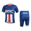 ชุดปั่นจักรยานแขนสั้นทีม BMC เสื้อปั่นจักรยาน กับ กางเกงปั่นจักรยาน สีน้ำเงิน 136
