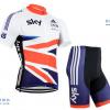 ชุดปั่นจักรยานแขนสั้นทีม SKY เสื้อปั่นจักรยาน กับ กางเกงปั่นจักรยาน สีขาวคาดธง 043