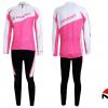 ชุดปั่นจักรยานผู้หญิงแขนยาวทีม GIANT เสื้อปั่นจักรยาน กับ กางเกงปั่นจักรยาน สีชมพู 087