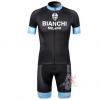 ชุดปั่นจักรยานแขนสั้นทีม BIANCHI เสื้อปั่นจักรยาน กับ กางเกงปั่นจักรยาน สีดำฟ้า 114