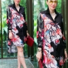 "TK1598""สีดำ""*รอบอก44"" Versace chiffon shirt Oversize Korea high quality tiger flower"