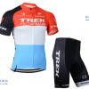 ชุดปั่นจักรยานแขนสั้นทีม Trek เสื้อปั่นจักรยาน กับ กางเกงปั่นจักรยาน สีฟ้าขาวแดง 065