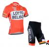 ชุดปั่นจักรยานแขนสั้นทีม LOTTO Belisol เสื้อปั่นจักรยาน กับ กางเกงปั่นจักรยาน สีแดง 091