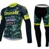 ชุดปั่นจักรยานแขนยาวทีม SAXO BANK Tinkoff เสื้อปั่นจักรยานแขนยาว กับ กางเกงปั่นจักรยานขายาว สีเขียว 126
