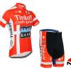 ชุดปั่นจักรยานแขนสั้นทีม Saxo Bank Tink Off เสื้อปั่นจักรยาน กับ กางเกงปั่นจักรยาน สีแดง 088