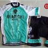 ชุดปั่นจักรยานแขนสั้นทีม Bianchi Milano เสื้อปั่นจักรยาน กับ กางเกงปั่นจักรยาน สีขาวดำเขียว 145