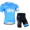 ชุดปั่นจักรยานแขนสั้นทีม SKY 2015 เสื้อปั่นจักรยาน กับ กางเกงปั่นจักรยาน สีฟ้า 170