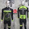ชุดปั่นจักรยานแขนยาวทีม Cannondale 2016 เสื้อปั่นจักรยานแขนยาว กับ กางเกงปั่นจักรยานขายาวเอี๊ยม สีดำคาดฟ้าขาว 315