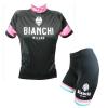 ชุดปั่นจักรยานผู้หญิงแขนสั้นทีม BIANCHI MILANO เสื้อปั่นจักรยาน กับ กางเกงปั่นจักรยาน สีดำชมพู 129