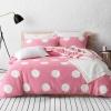 ผ้าปูที่นอน ลายสวย สวย สีชมพูลายจุด