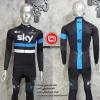 ชุดปั่นจักรยานแขนยาวทีม SKY 2016 เสื้อปั่นจักรยานแขนยาว กับ กางเกงปั่นจักรยานขายาวเอี๊ยม สีดำคาดฟ้าขาว 314