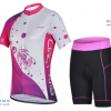 ชุดปั่นจักรยานผู้หญิง CHEJI เสื้อปั่นจักรยาน กับ กางเกงปั่นจักรยาน สีขาวชมพู 077