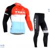ชุดปั่นจักรยานแขนยาวทีม TREK เสื้อปั่นจักรยานแขนยาว กับ กางเกงปั่นจักรยานขายาว สีฟ้าขาวแดง 070