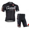 ชุดปั่นจักรยานแขนสั้นทีม Castelli เสื้อปั่นจักรยาน กับ กางเกงปั่นจักรยาน สีดำ 090