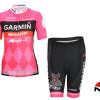 ชุดปั่นจักรยานผู้หญิงแขนสั้นทีม GARMIN เสื้อปั่นจักรยาน กับ กางเกงปั่นจักรยาน สีชมพู 086