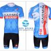 ชุดปั่นจักรยานแขนสั้นทีม Garmin เสื้อปั่นจักรยาน กับ กางเกงปั่นจักรยาน สีน้ำเงินขาว 003