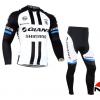 ชุดปั่นจักรยานแขนยาวทีม GIANT เสื้อปั่นจักรยานแขนยาว กับ กางเกงปั่นจักรยานขายาว สีขาวดำ 093
