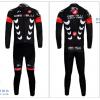 ชุดปั่นจักรยานแขนยาวทีม Castelli เสื้อปั่นจักรยานแขนยาว กับ กางเกงปั่นจักรยานขายาว สีดำแดง 051