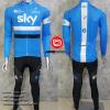 ชุดปั่นจักรยานแขนยาวทีม SKY 2016 เสื้อปั่นจักรยานแขนยาว กับ กางเกงปั่นจักรยานขายาว สีฟ้า 316