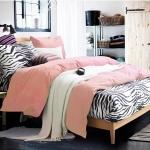 ผ้าปูที่นอน ลายม้าลาย Zebra Bedding สีโอรส
