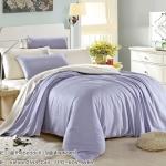 ผ้าปูที่นอน ผ้าเทนเซล tencel สีพื้นทูโทน ม่วง-ครีม