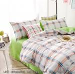 ผ้าปูที่นอน ลายเส้น พื้นสีเขียว-ขาว