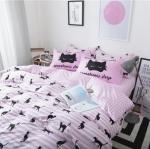 ผ้าปูที่นอน ลายแมว สีชมพู ลายทาง