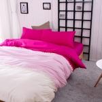 ผ้าปูที่นอน สีพื้นสไตล์เกาหลี สีชมพูเข้ม