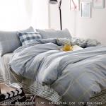 ผ้าปูที่นอน ลายเส้น พื้นสีเทา