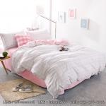 ผ้าปูที่นอน ลายเส้น สีพื้นชมพู-ขาว