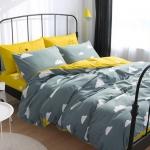 ผ้าปูที่นอน ลายจุดก้อนเมฆ สีเทา-เหลือง