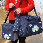 กระเป๋าคุณแม่ กระเป๋าใส่ของเด็กอ่อน สัมภาระลูกน้อย ลายรถ Set สุดคุ้ม 3 ใบ สีกรมท่า.สีฟ้า.สีชมพู