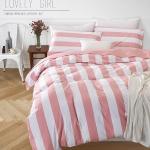 ผ้าปูที่นอน ลายทาง สีชมพู-ขาว