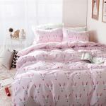 ผ้าปูที่นอน ลายกระต่าย สีชมพูจุด