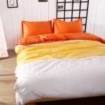 ผ้าปูที่นอน สีพื้นสไตล์เกาหลี สีส้ม