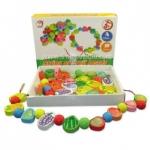 ของเล่นไม้ผลไม้ร้อยเชือก (String of fruit beads) ..จัดส่งฟรี