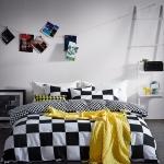 ผ้าปูที่นอน สีขาว-ดำ ลายหมากรุก