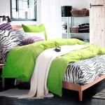 ผ้าปูที่นอน ลายม้าลาย Zebra Bedding สีเขียว