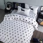 ผ้าปูที่นอน ลาย สวยสวย สีขาว-ดำ