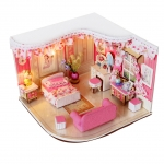 wooden doll house 3D puzzle ห้องนอนสีชมพู
