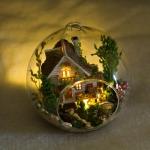 DIY Mini Ball Glass House .. . บ้านไม้2ชั้นในขวดแก้วใส แบบแขวนหรือตั้งโต๊ะ