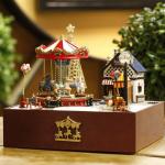 Carousel Amusement Park Happy Christmas Eve (ต้นสนทอง)