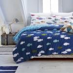 ผ้าปูที่นอน ลายสวย ลายปลา น้ำเงิน-ฟ้า