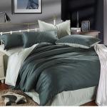 ผ้าปูที่นอน tencel สีเทา-ดำ สีพื้น